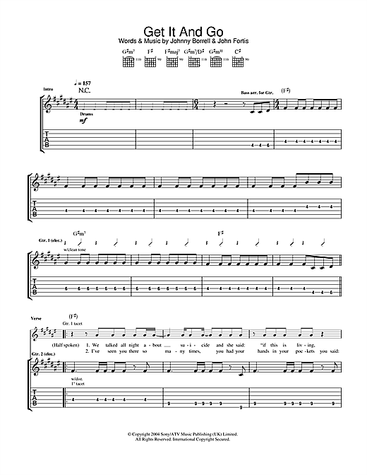 Razorlight Get It And Go sheet music notes and chords. Download Printable PDF.