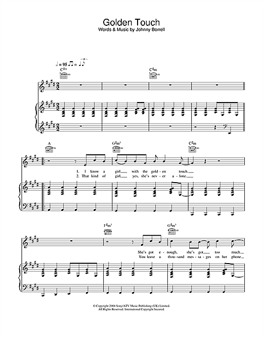 Razorlight Golden Touch sheet music notes and chords. Download Printable PDF.