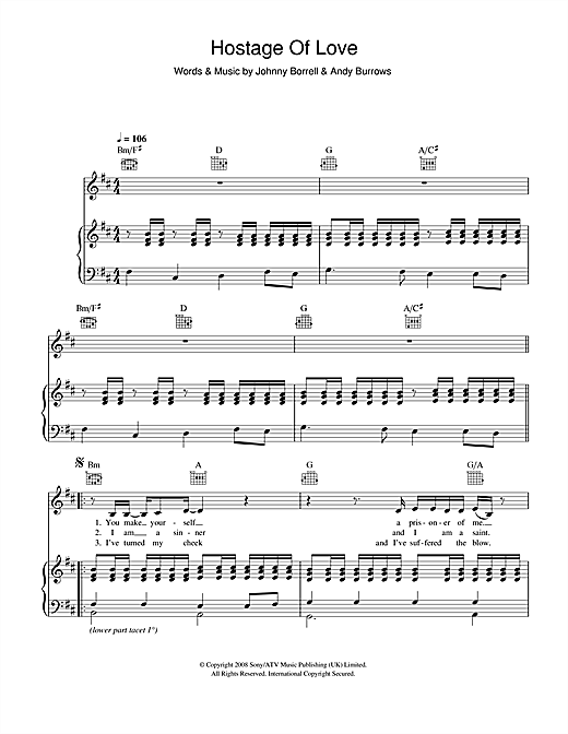 Razorlight Hostage Of Love sheet music notes and chords. Download Printable PDF.