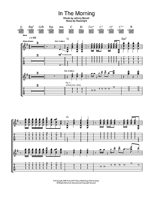Razorlight In The Morning sheet music notes and chords. Download Printable PDF.