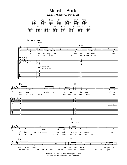 Razorlight Monster Boots sheet music notes and chords. Download Printable PDF.