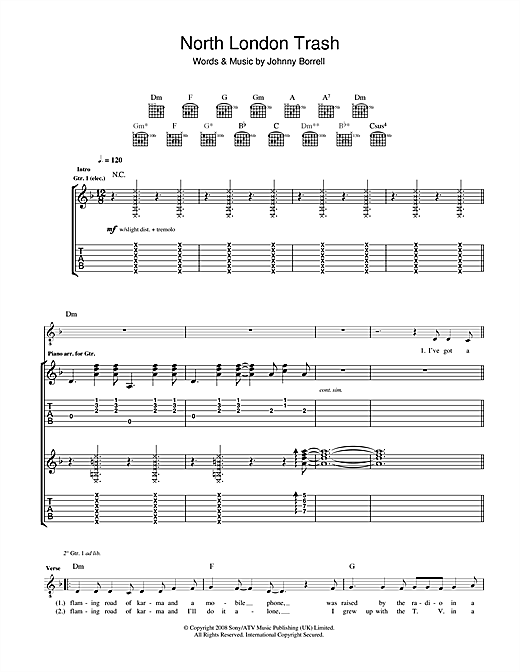 Razorlight North London Trash sheet music notes and chords. Download Printable PDF.