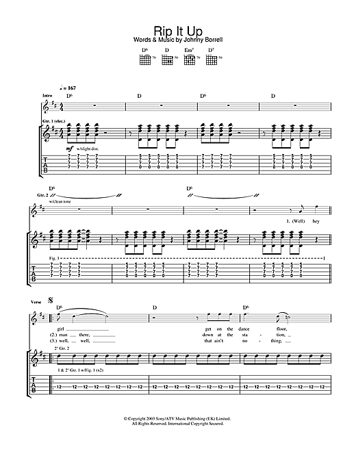 Razorlight Rip It Up sheet music notes and chords. Download Printable PDF.