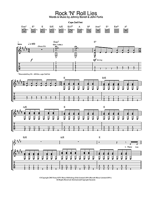 Razorlight Rock 'n' Roll Lies sheet music notes and chords. Download Printable PDF.