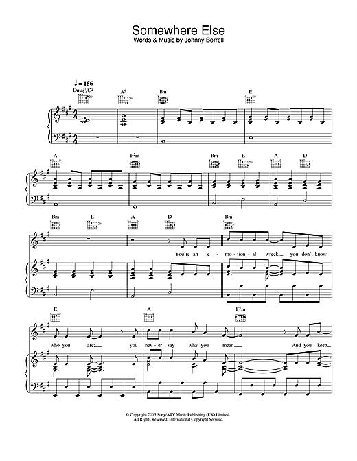 Razorlight Somewhere Else sheet music notes and chords. Download Printable PDF.