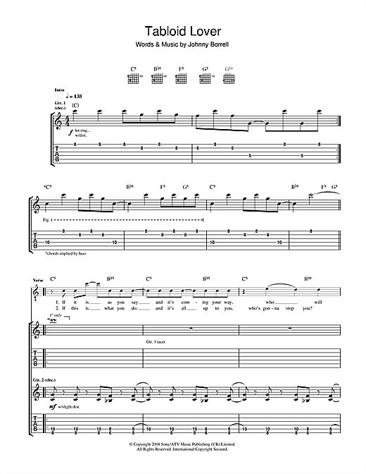 Razorlight Tabloid Lover sheet music notes and chords. Download Printable PDF.
