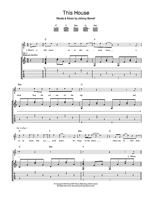 Razorlight The House sheet music notes and chords. Download Printable PDF.