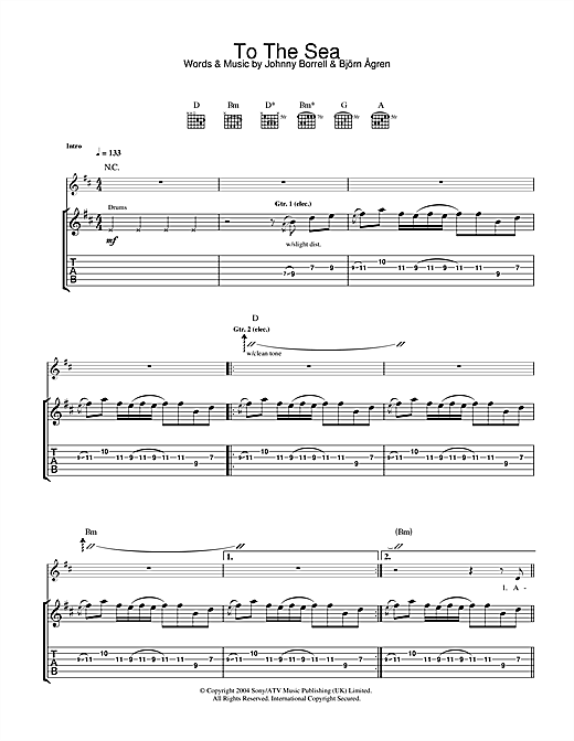 Razorlight To The Sea sheet music notes and chords. Download Printable PDF.