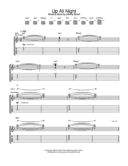Razorlight Up All Night sheet music notes and chords. Download Printable PDF.