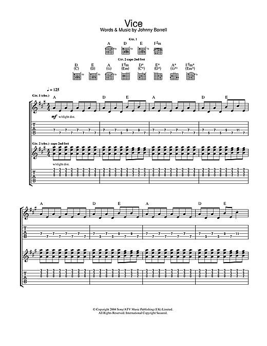 Razorlight Vice sheet music notes and chords. Download Printable PDF.
