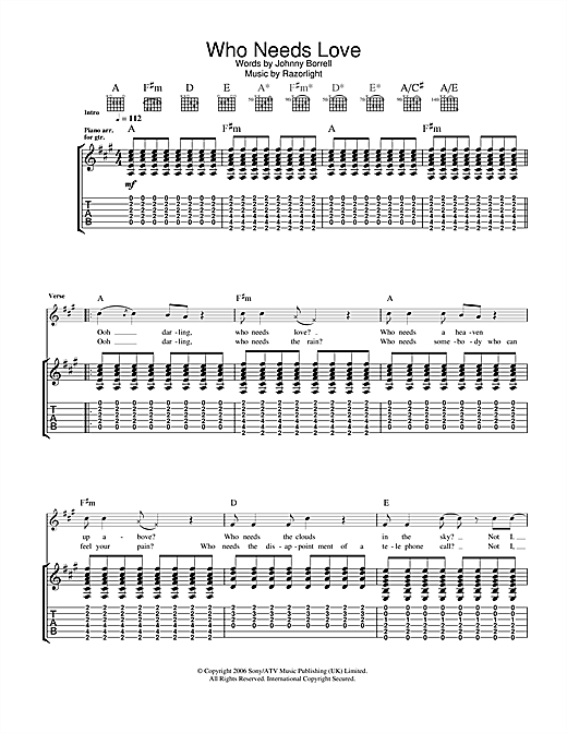 Razorlight Who Needs Love sheet music notes and chords. Download Printable PDF.