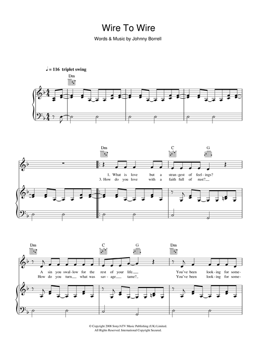 Razorlight Wire To Wire sheet music notes and chords. Download Printable PDF.