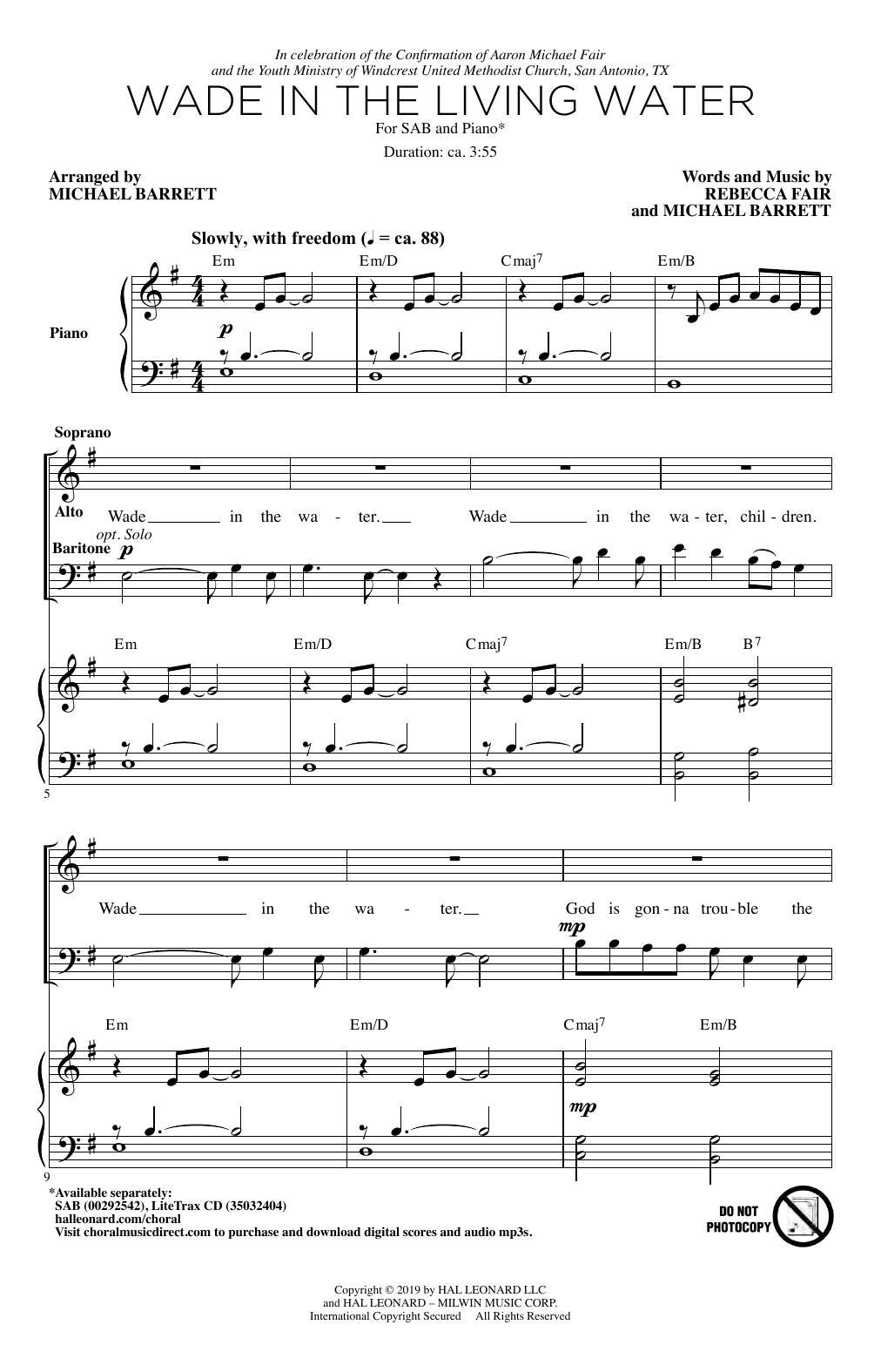 Rebecca Fair & Michael Barrett Wade In The Living Water sheet music notes and chords. Download Printable PDF.