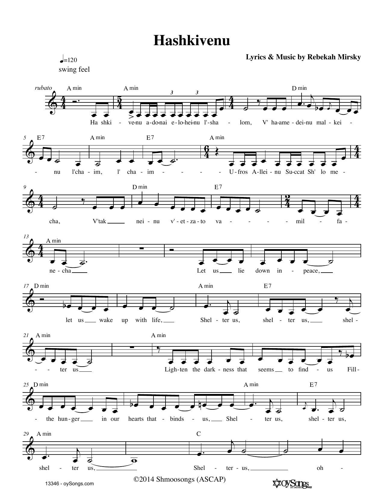 Rebecca Mirsky Hashkivenu sheet music notes and chords. Download Printable PDF.