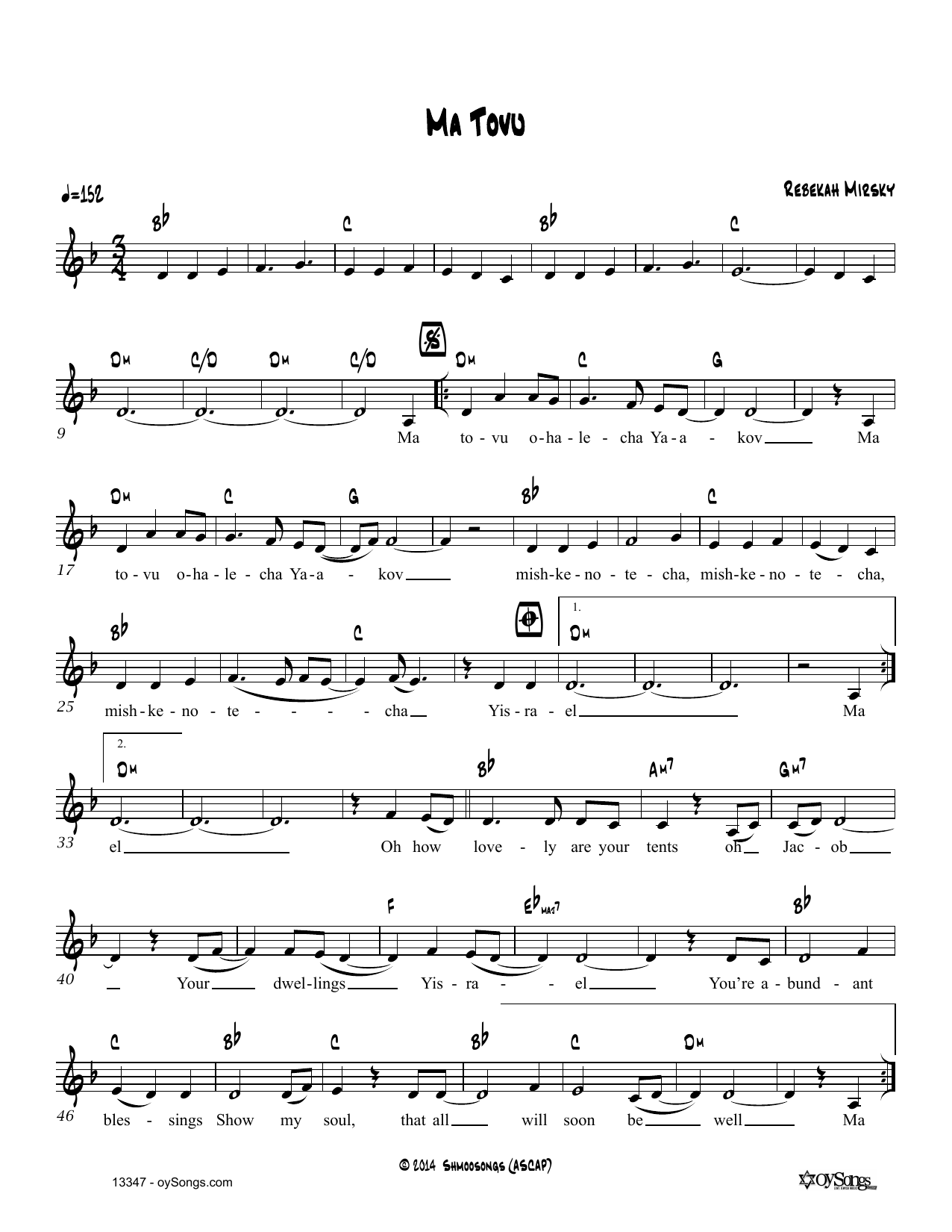 Rebecca Mirsky Ma Tovu sheet music notes and chords. Download Printable PDF.