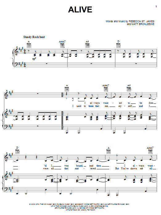 Rebecca St. James Alive sheet music notes and chords