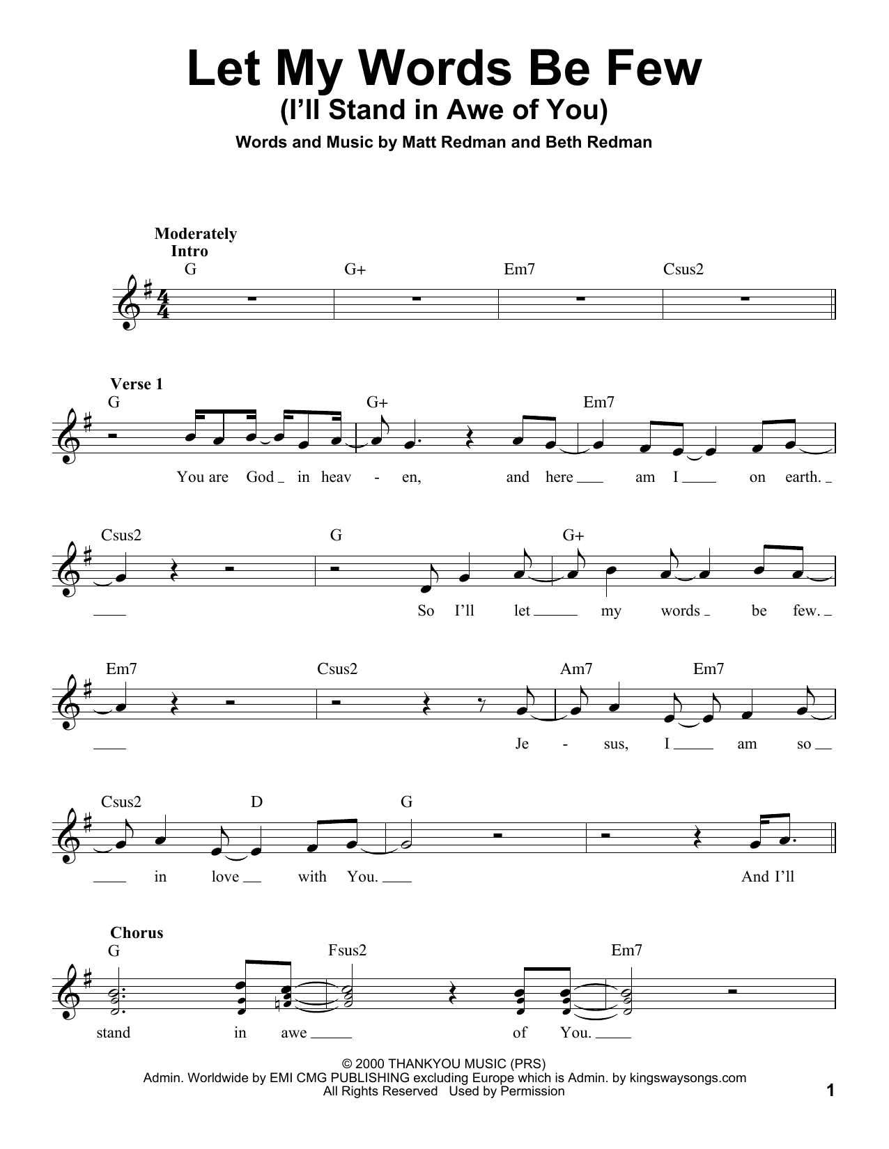 Rebecca St. James Let My Words Be Few (You Are God In Heaven) sheet music notes and chords. Download Printable PDF.