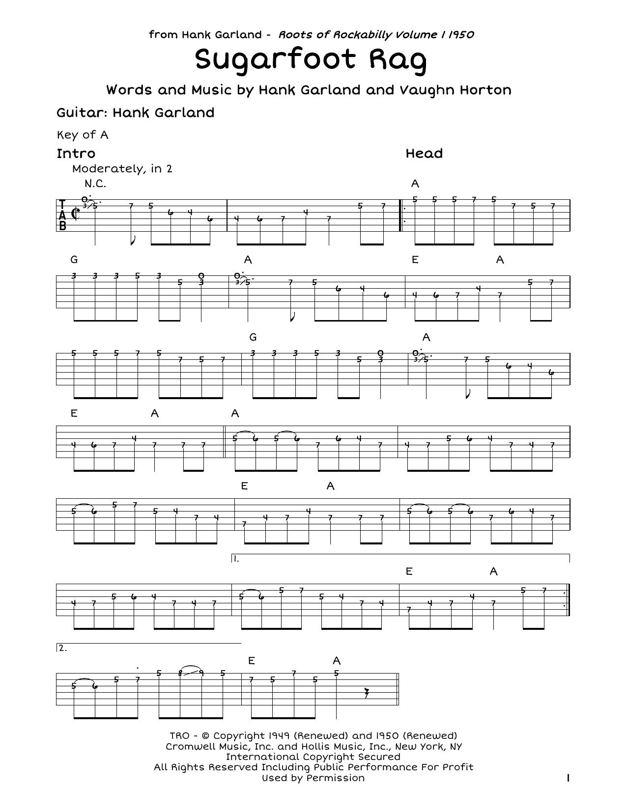 Red Foley Sugarfoot Rag sheet music notes and chords. Download Printable PDF.