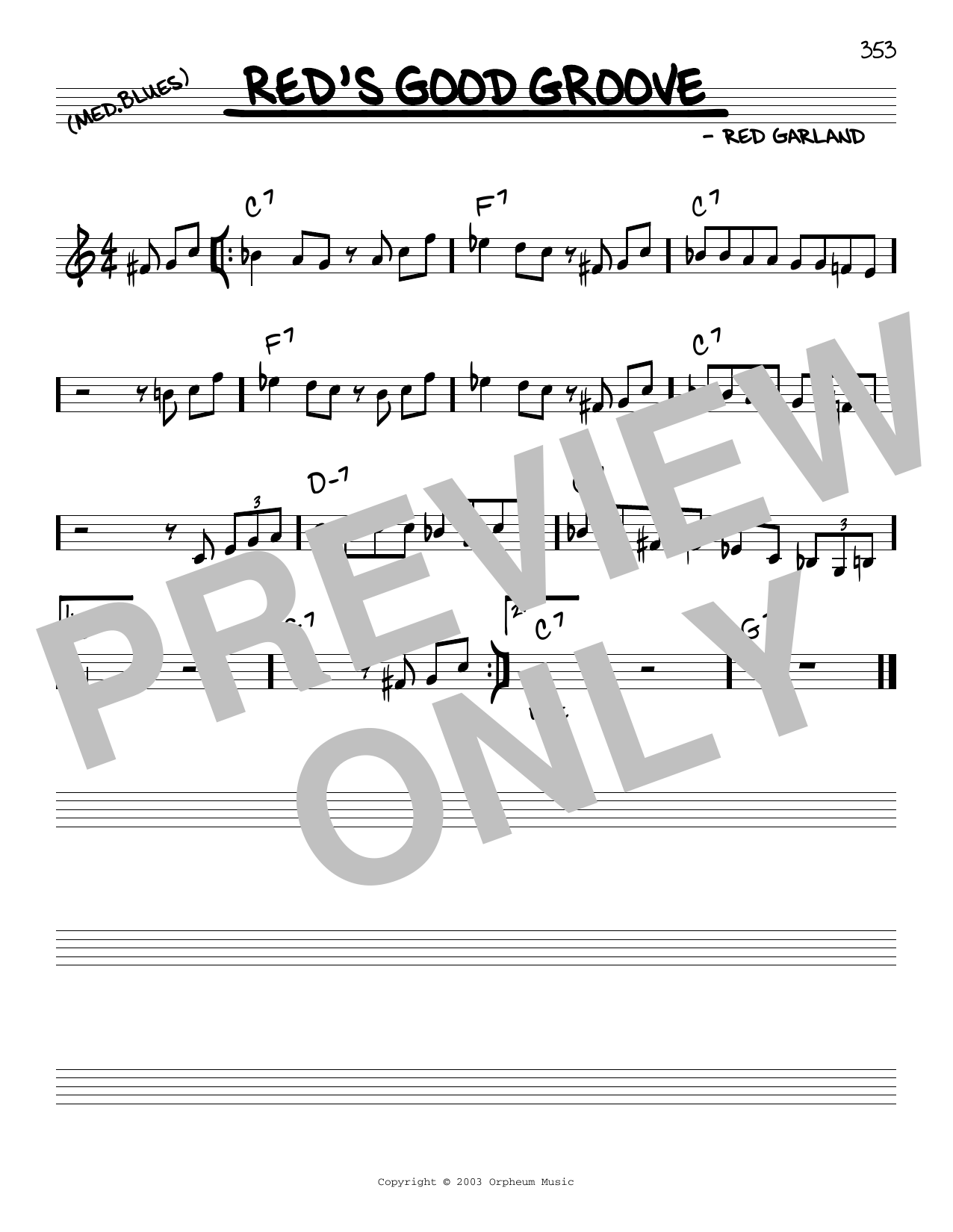 Red Garland Red's Good Groove sheet music notes and chords. Download Printable PDF.