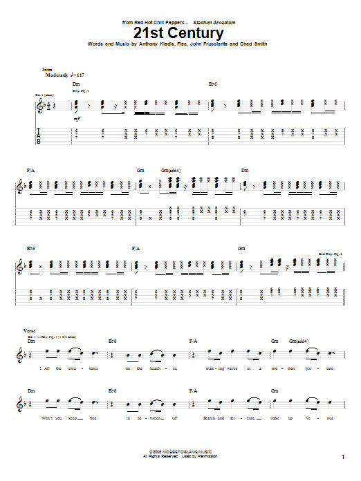 Red Hot Chili Peppers 21st Century sheet music notes and chords. Download Printable PDF.