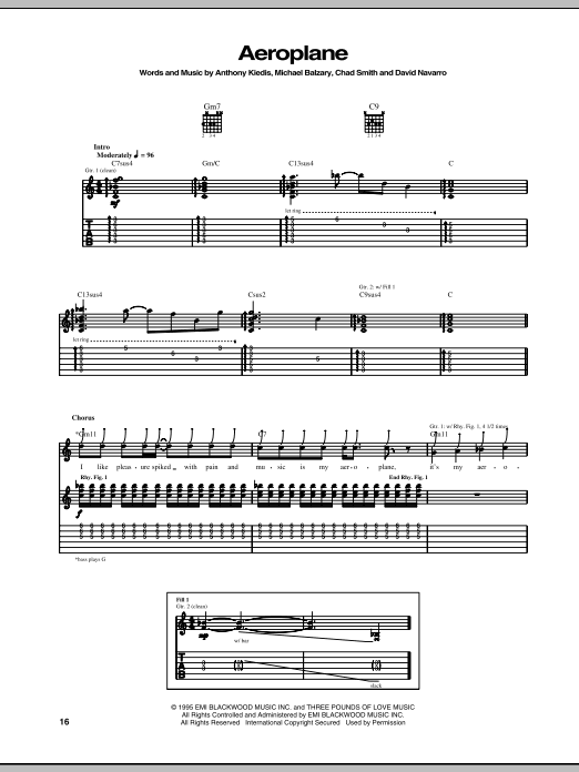 Red Hot Chili Peppers Aeroplane sheet music notes and chords. Download Printable PDF.