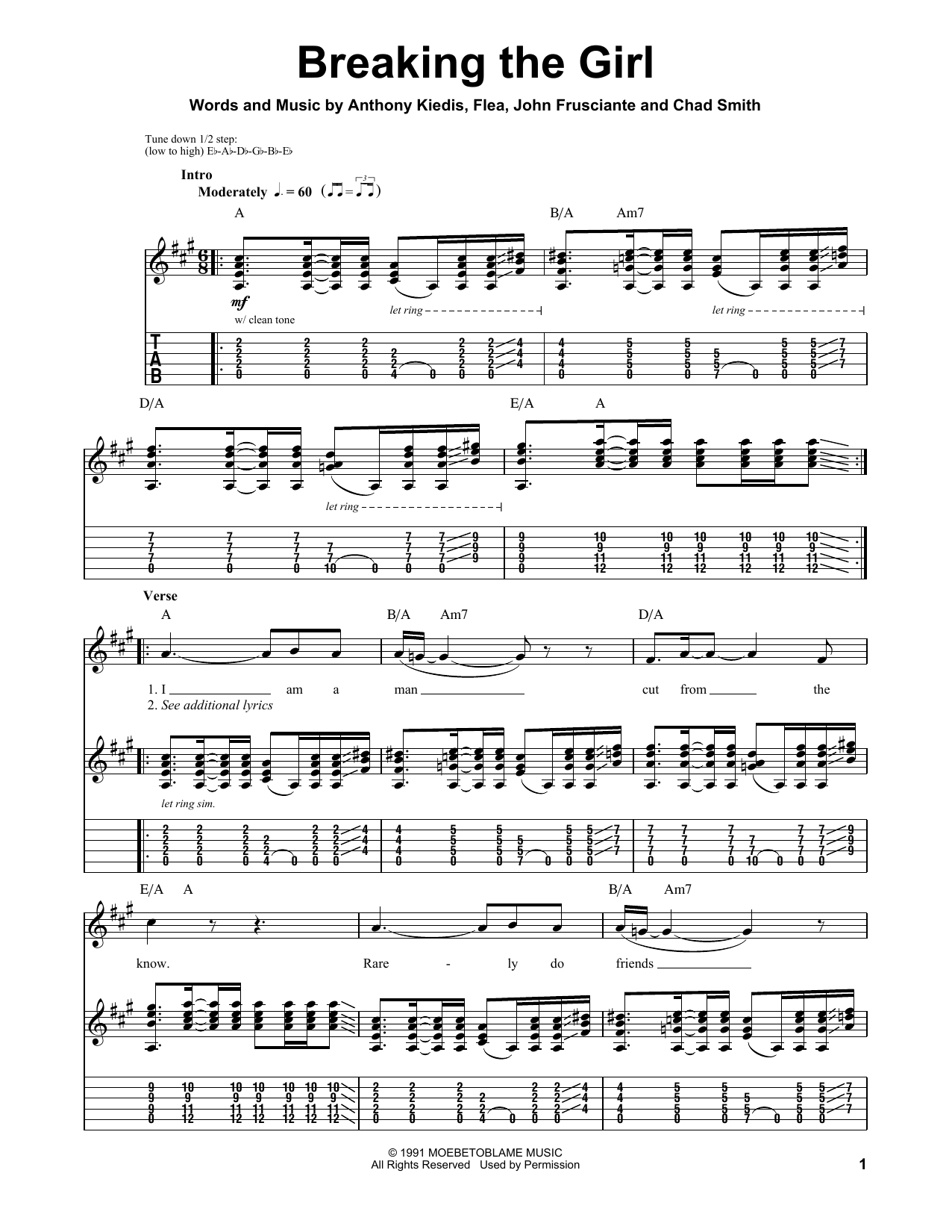 Red Hot Chili Peppers Breaking The Girl sheet music notes and chords. Download Printable PDF.
