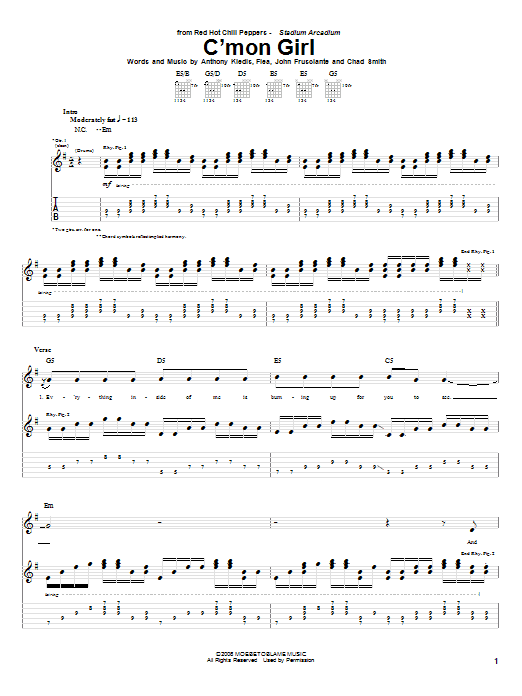 Red Hot Chili Peppers C'Mon Girl sheet music notes and chords. Download Printable PDF.