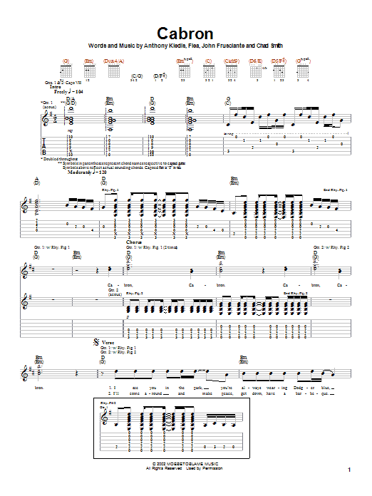 Red Hot Chili Peppers Cabron sheet music notes and chords. Download Printable PDF.