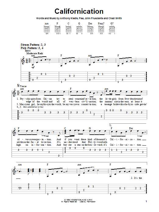 Red Hot Chili Peppers Californication sheet music notes and chords. Download Printable PDF.