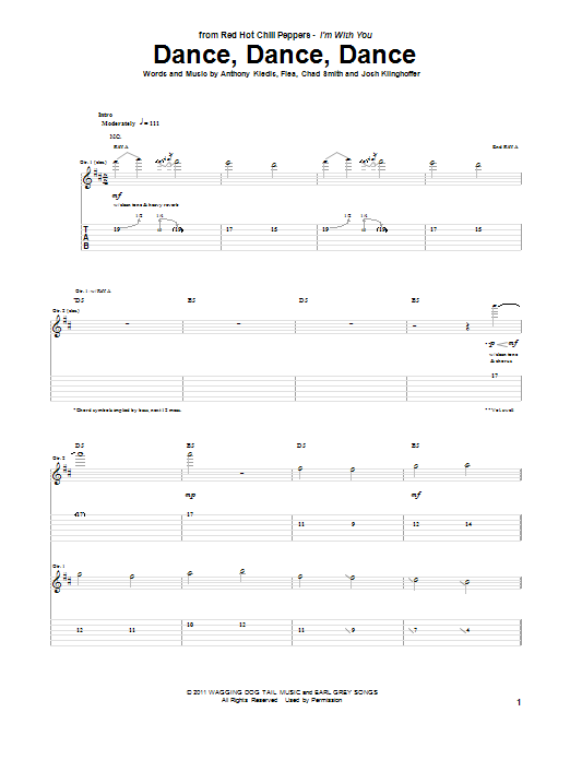 Red Hot Chili Peppers Dance, Dance, Dance sheet music notes and chords. Download Printable PDF.
