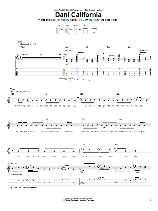 Red Hot Chili Peppers Dani California sheet music notes and chords. Download Printable PDF.