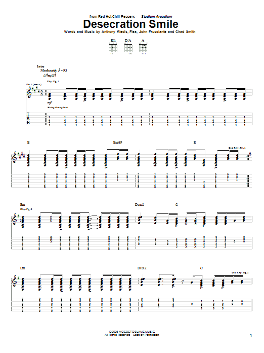 Red Hot Chili Peppers Desecration Smile sheet music notes and chords. Download Printable PDF.