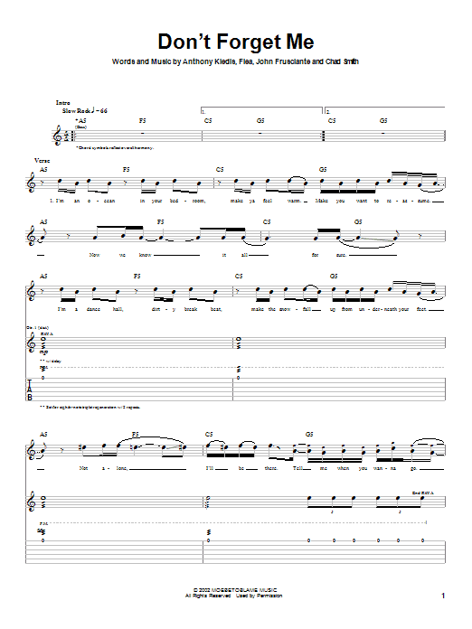 Red Hot Chili Peppers Don't Forget Me sheet music notes and chords. Download Printable PDF.
