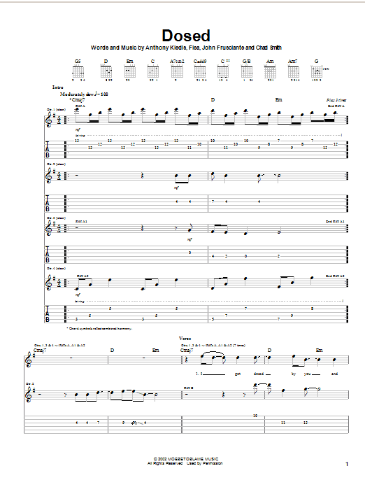Red Hot Chili Peppers Dosed sheet music notes and chords. Download Printable PDF.