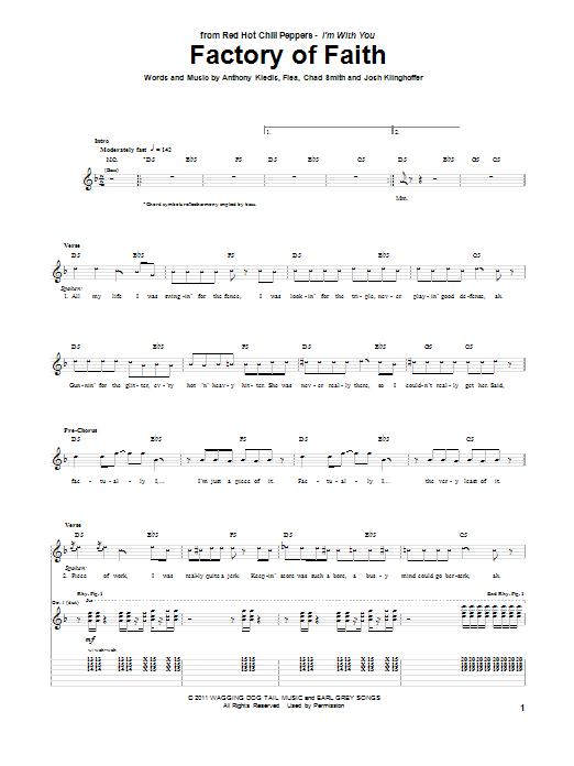 Red Hot Chili Peppers Factory Of Faith sheet music notes and chords. Download Printable PDF.