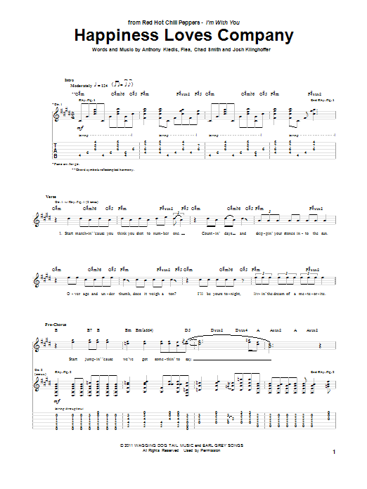 Red Hot Chili Peppers Happiness Loves Company sheet music notes and chords. Download Printable PDF.