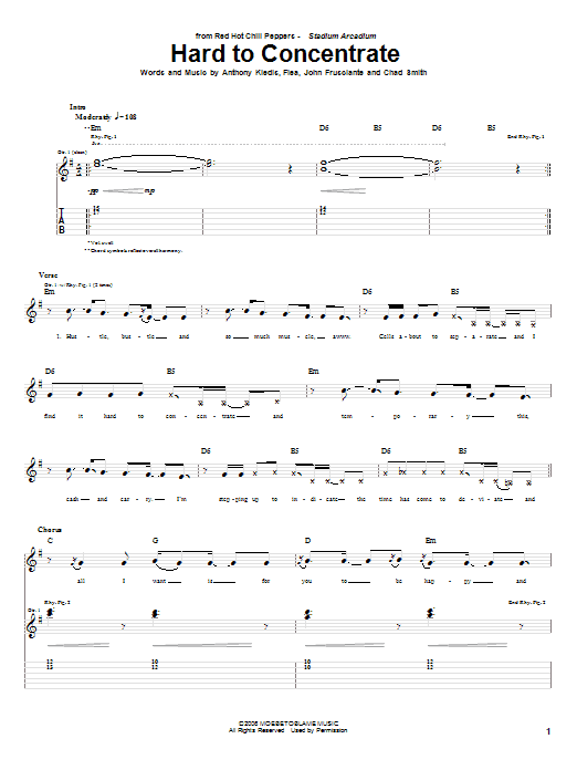 Red Hot Chili Peppers Hard To Concentrate sheet music notes and chords. Download Printable PDF.