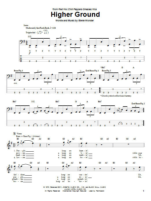 Red Hot Chili Peppers Higher Ground sheet music notes and chords. Download Printable PDF.
