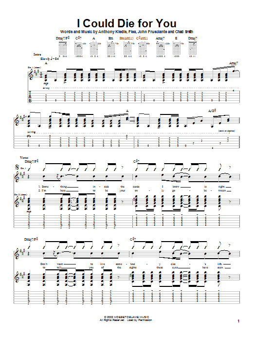 Red Hot Chili Peppers I Could Die For You sheet music notes and chords