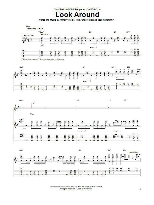 Red Hot Chili Peppers Look Around sheet music notes and chords. Download Printable PDF.