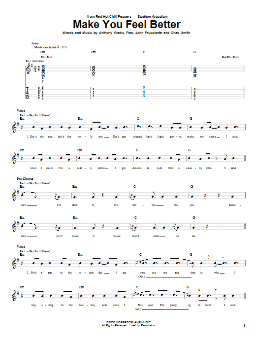 Red Hot Chili Peppers Make You Feel Better sheet music notes and chords. Download Printable PDF.