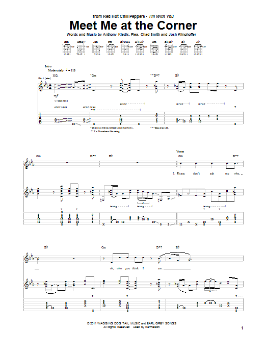 Red Hot Chili Peppers Meet Me At The Corner sheet music notes and chords. Download Printable PDF.