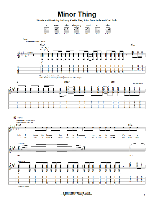 Red Hot Chili Peppers Minor Thing sheet music notes and chords. Download Printable PDF.