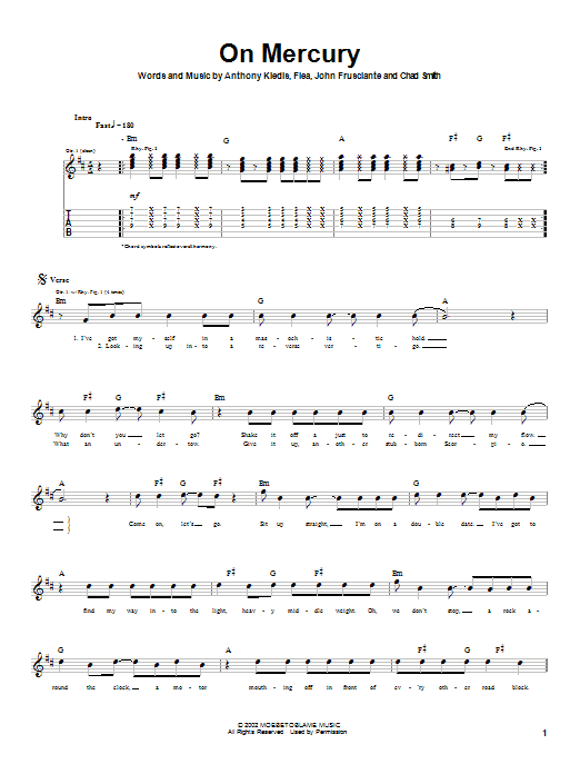 Red Hot Chili Peppers On Mercury sheet music notes and chords