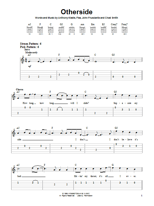 Red Hot Chili Peppers Otherside sheet music notes and chords. Download Printable PDF.