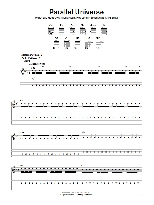 Red Hot Chili Peppers Parallel Universe sheet music notes and chords
