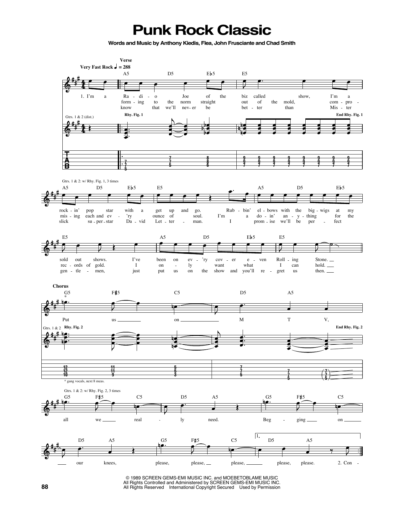 Red Hot Chili Peppers Punk Rock Classic sheet music notes and chords. Download Printable PDF.
