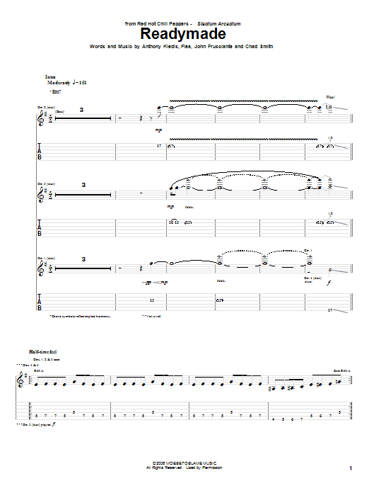 Red Hot Chili Peppers Readymade sheet music notes and chords. Download Printable PDF.
