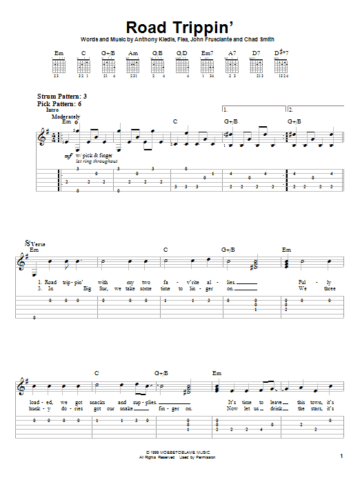 Red Hot Chili Peppers Road Trippin' sheet music notes and chords. Download Printable PDF.
