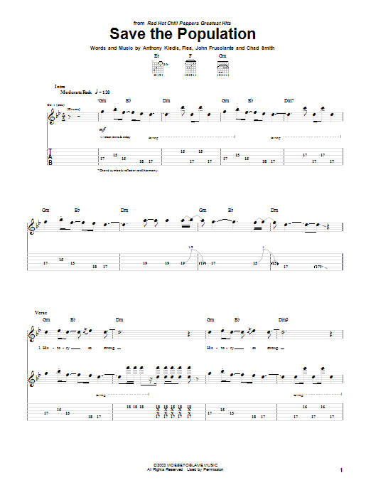 Red Hot Chili Peppers Save The Population sheet music notes and chords. Download Printable PDF.